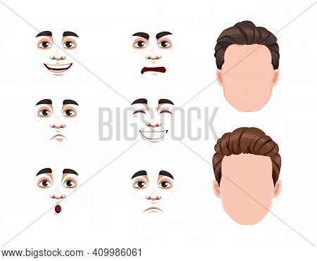 Different Male Emotions Set. Blank Faces And Expressions Of Handsome Man. Choose Emotions You Need.