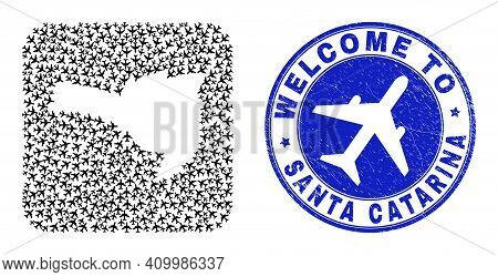 Vector Collage Santa Catarina State Map Of Transportation Items And Grunge Welcome Seal. Collage Geo