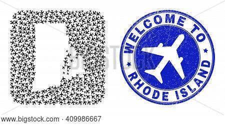 Vector Collage Rhode Island State Map Of Aero Items And Grunge Welcome Badge. Mosaic Geographic Rhod