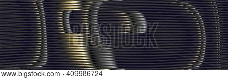 Futuristic Abstract Banner With Rounded Forms With Linear Vector Moir Texture. Black Background For