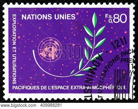 United Nations - Circa 1983: A Stamp Printed In The United Nations, Offices In Geneva Shows Olive Br