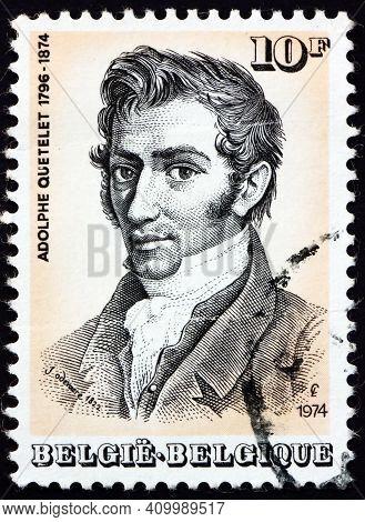 Belgium - Circa 1974: A Stamp Printed In Belgium Shows Adolphe Quetelet (1796-1874), Was Belgian Mat