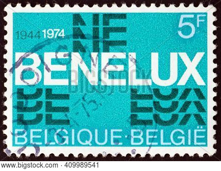 Belgium - Circa 1974: A Stamp Printed In Belgium Dedicated To 30th Anniversary Of The Signing Of The
