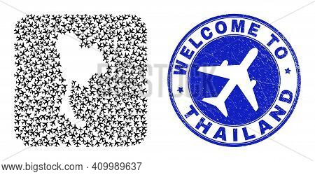 Vector Mosaic Thailand Map Of Aviation Items And Grunge Welcome Seal Stamp. Mosaic Geographic Thaila