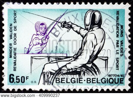Belgium - Circa 1977: A Stamp Printed In Belgium Shows Fencers In Wheelchairs, Sport For The Handica