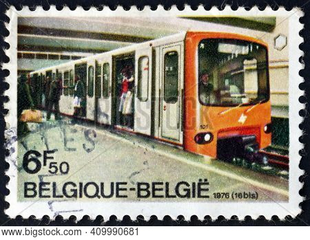 Belgium - Circa 1976: A Stamp Printed In Belgium Shows Subway Train, Opening Of First Line Of Brusse