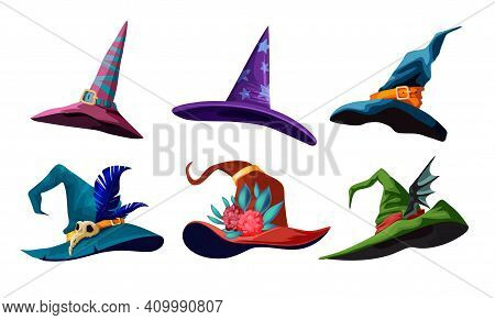 Vector Collection Of Cartoon Witch Hats For Your Halloween Design. Illustration With Different Types