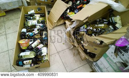 St. Petersburg, Russia - December 29, 2019: Cardboard Boxes With Glass Bottles Of Alcohol, Wine, Foo