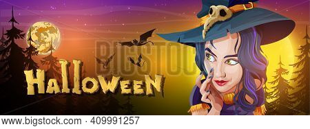 Collection Halloween Horizontal Greeting Banner With Halloween Night, Shining Moon, Night Stars, Fly