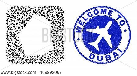 Vector Collage Dubai Emirate Map Of Airflight Elements And Grunge Welcome Seal Stamp. Collage Geogra