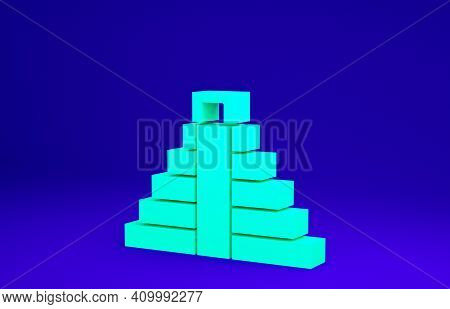 Green Chichen Itza In Mayan Icon Isolated On Blue Background. Ancient Mayan Pyramid. Famous Monument