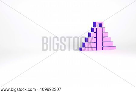 Purple Chichen Itza In Mayan Icon Isolated On White Background. Ancient Mayan Pyramid. Famous Monume
