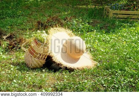 Straw Hat And Purse With Flowers Lie On The Lawn In The Spring Park. Romantic Nature Walk Concept.