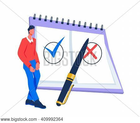 Questionnaire And Survey Concept With Man Next To Huge Checklist, Flat Vector Illustration Isolated