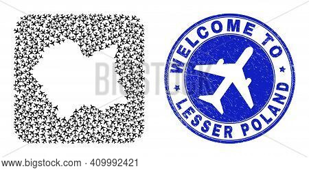 Vector Collage Lesser Poland Voivodeship Map Of Airflight Items And Grunge Welcome Seal. Mosaic Geog