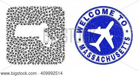 Vector Mosaic Massachusetts State Map Of Air Shipping Elements And Grunge Welcome Badge. Collage Geo
