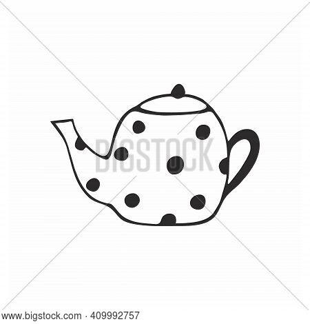 A Pencil-drawn Doodle Teapot On A White Background. Vector Contour Illustration For Children. Logo E