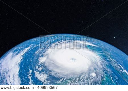 View Space Of The Incipient Large Hurricane Over The Ocean. Climate Change Concept, Increase In Extr