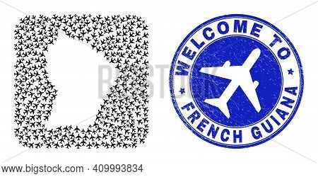 Vector Collage French Guiana Map Of Air Vehicle Elements And Grunge Welcome Seal Stamp. Collage Geog