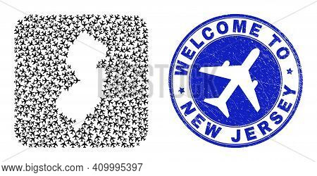 Vector Mosaic New Jersey State Map Of Airflight Elements And Grunge Welcome Seal Stamp. Mosaic Geogr