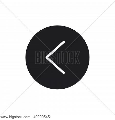 Previous Button Icon. Flat Solid Style Vector Illustration. Filled Pictogram Isolated Sign Symbol