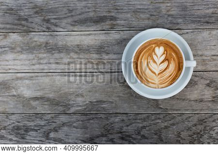 Coffee Cup On The Table, Hot And Fresh Morning Coffee. Brown Coffee. Coffee Concept. Copyspace