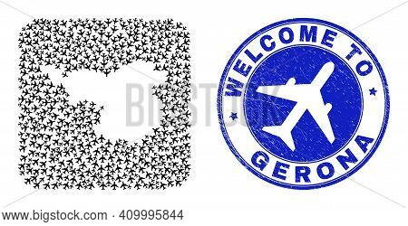 Vector Mosaic Gerona Province Map Of Aero Elements And Grunge Welcome Badge. Collage Geographic Gero