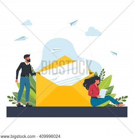 A Man Sends A Letter To A Woman. Woman Receiving Mail And Reading Letter. Flat Cartoon Vector Illust