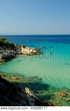 Chalkidiki, Greece - August 14, 2017 : Amazing  Rocky Beach And Turquoise Waters In Chalkidiki Greec