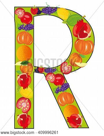 Letter R From Fruit On White Background Is Insulated