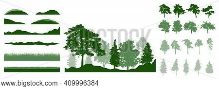Design Elements Of Summer Trees. Constructor Woodland, Landscape. Silhouettes Of Beautiful Fir Trees