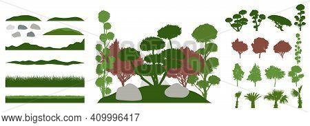 Constructor Kit. Silhouettes Of Beautiful Decorative Trees, Bonsai, Palm Tree, Stone, Grass, Hill. C