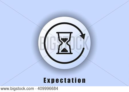 User Interface Icon. Waiting Icon, Hourglass, Waiting Time. White Web Button Neomorphism