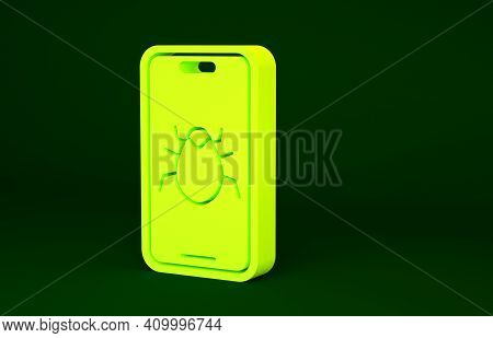 Yellow System Bug On Mobile Icon Isolated On Green Background. Code Bug Concept. Bug In The System.