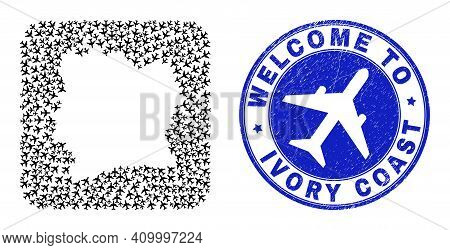 Vector Mosaic Ivory Coast Map Of Air Flight Elements And Grunge Welcome Stamp. Mosaic Geographic Ivo