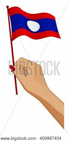 Female Hand Gently Holds Small Flag Lao People Democratic Republic. Holiday Design Element. Cartoon