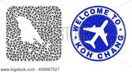 Vector Collage Koh Chang Map Of Air Shipping Elements And Grunge Welcome Stamp. Mosaic Geographic Ko
