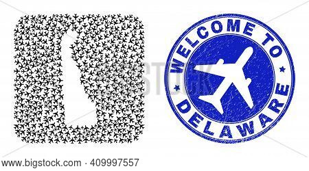 Vector Collage Delaware State Map Of Air Shipping Items And Grunge Welcome Stamp. Mosaic Geographic