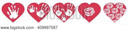 Handprints Of Family, Imprint Of Palm Hand Of Mother, Father And Baby, Imprint Of Lips In Red Heart