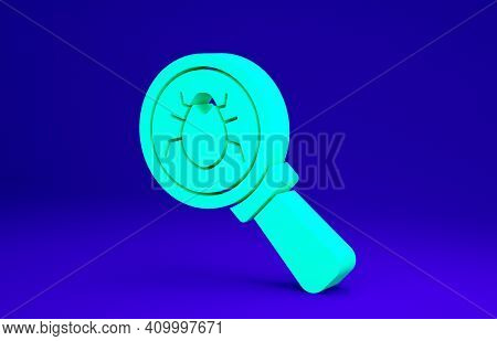 Green System Bug Concept Icon Isolated On Blue Background. Code Bug Concept. Bug In The System. Bug