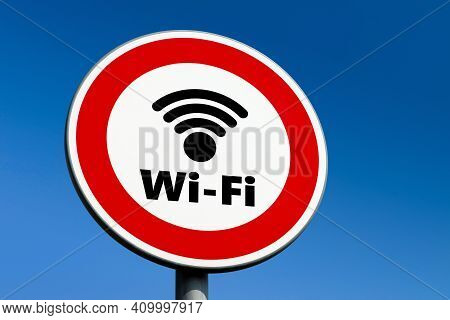 Red Circle Traffic Sign Forbidding The Use Of Wi-fi And Other Wireless Communication Technologies.