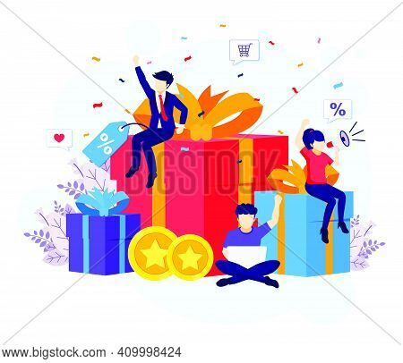 Loyalty Marketing Program, People Near Big Gift Boxes, Discounts, Rewards Card Points, And Bonuses F