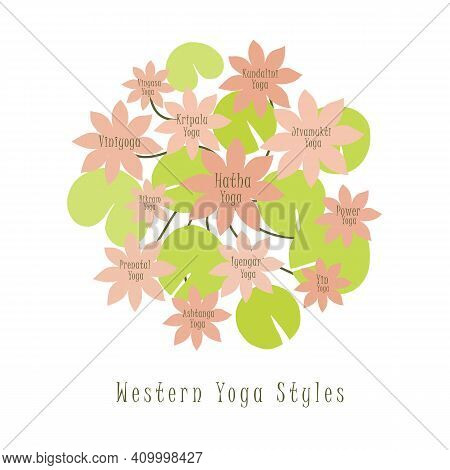Western Styles Of Yoga Illustrated With The Flat Lotus Flowers. 12 Most Popular Style Of Yoga. Hatha