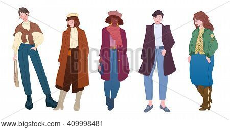 Modern Women In Autumn Clothing. Young Ladies Wear Trendy Outfits Or Looks. Fashion Bloggers In Warm