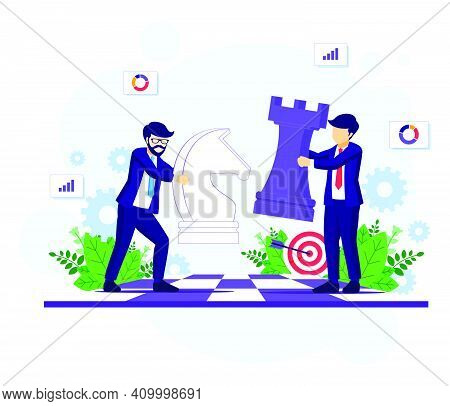 Business Strategy Concept With Businessmen Moving Chess Pieces On Chess Board. Strategic And Tactics