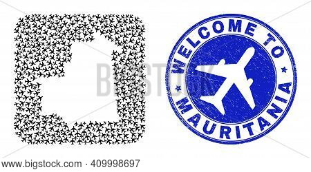 Vector Collage Mauritania Map Of Air Plane Elements And Grunge Welcome Badge. Collage Geographic Mau