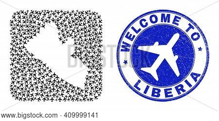 Vector Mosaic Liberia Map Of Air Vehicle Items And Grunge Welcome Seal Stamp. Mosaic Geographic Libe