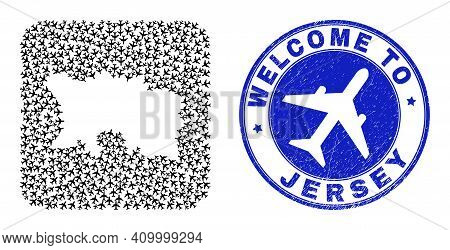 Vector Mosaic Jersey Island Map Of Air Shipping Items And Grunge Welcome Badge. Mosaic Geographic Je