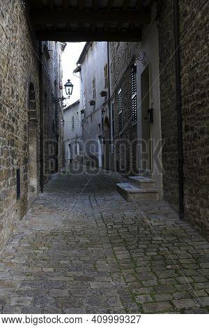 Serra San Quirico (an), Italy - January 1, 2019: Typical Road In Serra San Quirico Village, Ancona,