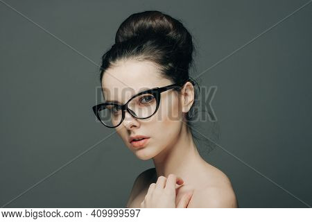 Woman With Bare Shoulders Wearing Glasses Glamor Fashion